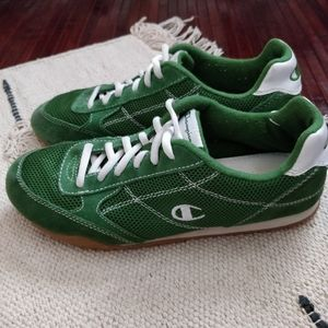 Champion Green White Suede Leather Sneakers 8